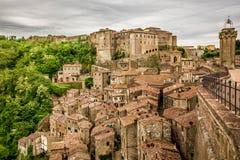 View of the city Sorano. Italy Royalty Free Stock Photos
