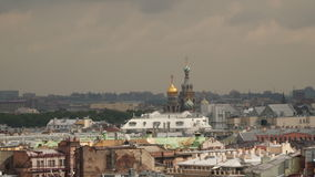 View of the city of St. Petersburg. From the height of the colonnade of St. Isaac`s Cathedral stock footage