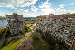 View of the city of St. Petersburg from the roof of the house. dormitory Stock Photos