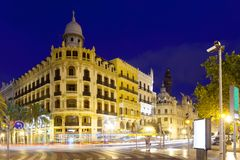 View of city street in night. Valencia, Spain. View of city street in night - Placa del Ajuntament. Valencia, Spain Royalty Free Stock Photo