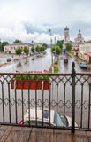 View of the city street in summer cloudy day Stock Image