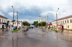 View on the city street in summer cloudy and rainy day in Valdai Stock Photos