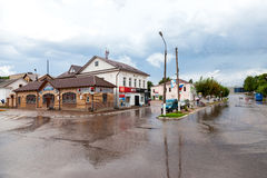 View on the city street in summer cloudy and rainy day in Valdai Stock Photo