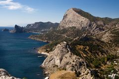 View of the city Sudak in Crimea. on the Crimean Peninsula. stock photos