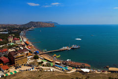 View on city Sudak from Genoese fortress. Crimea Stock Photo
