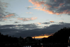 View of the city, sunset over city Royalty Free Stock Images