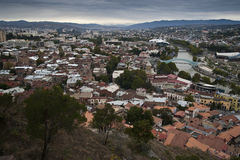 View on a city. Tbilisi, the capital of Georgia, bird's eye panorama royalty free stock images