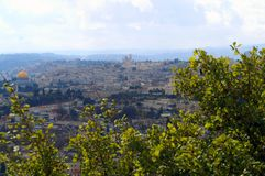 View of Jerusalem from the Mount of Olives. View of the city of three religions. Judaism, Christianity and Islam. To the right is the golden dome of the Dome of Stock Photography