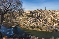 View of the city of Toledo and the river Tajo. Community of Castile-La Mancha Spain. Rio Tajo and in the background the old city of Toledo. Community of Castile stock image