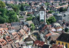 View on a city tower of Freiburg Stock Photography
