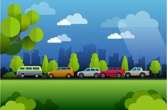 View of City traffic atmosphere stock illustration