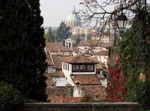 View of the city of Udine, historical capital of Friuli Homeland, now in italy.  Royalty Free Stock Photo