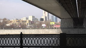 View on the city under the bridge stock video