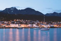 City of Ushuaia at the night. Royalty Free Stock Photo