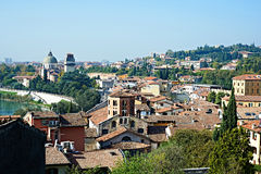 View of city of Verona and Cathedral Stock Photo