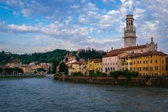 View of the city of Verona from the waterfront. Italy. The beauty of the quays of the old city of Verona stock image