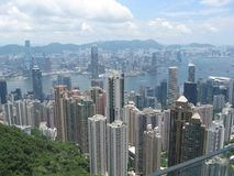 View of the city from Victoria peak, Hong Kong royalty free stock image