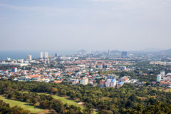 View of the city from the view point of Hua Hin. Thailand royalty free stock image