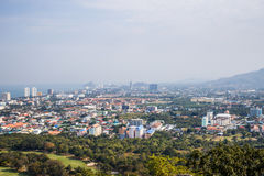 View of the city from the view point of Hua Hin. Thailand stock photo