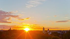 View of the city of Vilnius, Lithuania, time-lapse sunset stock video