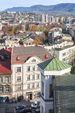 View on city, visible houses, blocks of flats, mou Royalty Free Stock Images