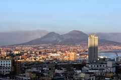 View of the city and the volcano Vesuvius royalty free stock image