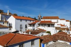 View from the City Wall of the Beautiful Village of Obidos, Portugal royalty free stock photo
