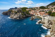 West Harbor of Dubrovnik and City Walls Stock Photos