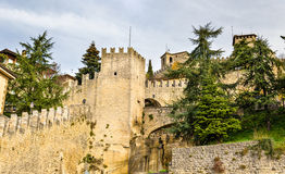 View of city walls of San Marino Royalty Free Stock Photos