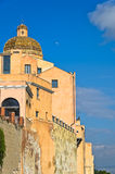 View of city walls and Santa Maria Cathedral at Castello downtown area, Cagliari, Sardinia Stock Photos