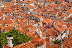 View from the City Walls to the red roofs in the Old town of Dub Stock Photo