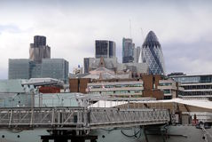 View of City through warships Belfast Royalty Free Stock Images