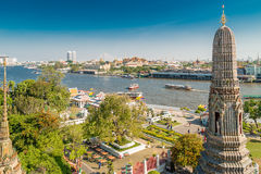 View on city with Wat Arun, the Temple of Dawn along Chao Praya River Stock Images