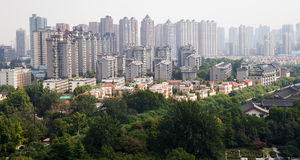 View of the city of Xian (Sian, Xi'an), Shaanxi province, China Royalty Free Stock Image