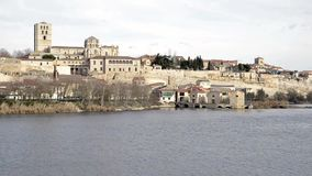 View of the city of Zamora stock footage