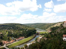 View. On a city Znojmo in Czech republic. You can see river, some houses and forest Stock Photography
