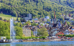 View on the city of Zug from Lake Zug Royalty Free Stock Images