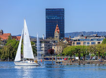 View on the city of Zug from Lake Zug Stock Photography