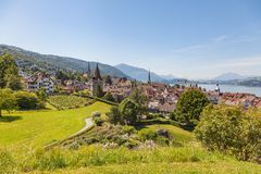 View in the city of Zug in Switzerland. View of the city of Zug in Switzerland in summertime Stock Photography