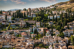 View of cityscape in Granada, Spain. A magnificent panorama view from Alhambra in Granada, Spain Royalty Free Stock Image