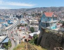 View on Cityscape of historical city Valparaiso, Chile. The colo. Cityscape of Valparaiso city from Artilleria funicular, Chile. The colorful houses and hectic Stock Image