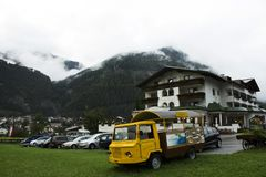 View cityscape and landscape and mountain with small truck at Pfunds village in Tyrol, Austria. View cityscape and landscape and mountain with small truck at Royalty Free Stock Photo