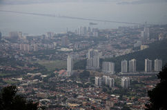 View cityscape and landscape of Penang city from viewpoint of Pe Royalty Free Stock Image