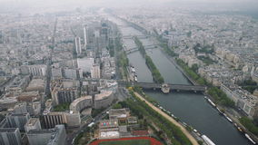 View of cityscape of Paris, Ile de France, France from Seine river to stadium from the Centre sportif Emile Anthoine stock video footage