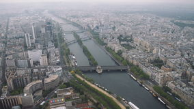 View of cityscape of Paris, Ile de France, France from Seine river to stadium from the Centre sportif Emile Anthoine stock video