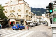 View cityscape and traffic road Merano city in Merano, Italy. View cityscape and traffic road with people and travelers walking and bike travel and visit Merano stock photo
