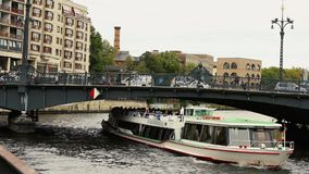 View cityscape and Weidendammer Bridge on Spree river in Berlin city, Weidendammer Brcke, tourist ships on the river. Spree, Friedrichstrasse, September 10 stock video