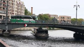 View cityscape and Weidendammer Bridge on Spree river in Berlin city, Weidendammer Brcke, tourist ships on the river. Spree, Friedrichstrasse stock video