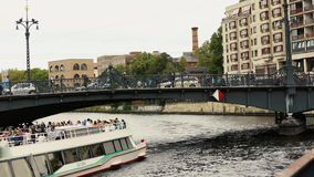 View cityscape and Weidendammer Bridge on Spree river in Berlin city, Weidendammer Brcke, tourist ships on the river. Spree, Friedrichstrasse stock video footage