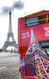 View of Citysightseeing Bus in Paris, with Eiffel Tower on background near Trocadero, Paris, France. stock images